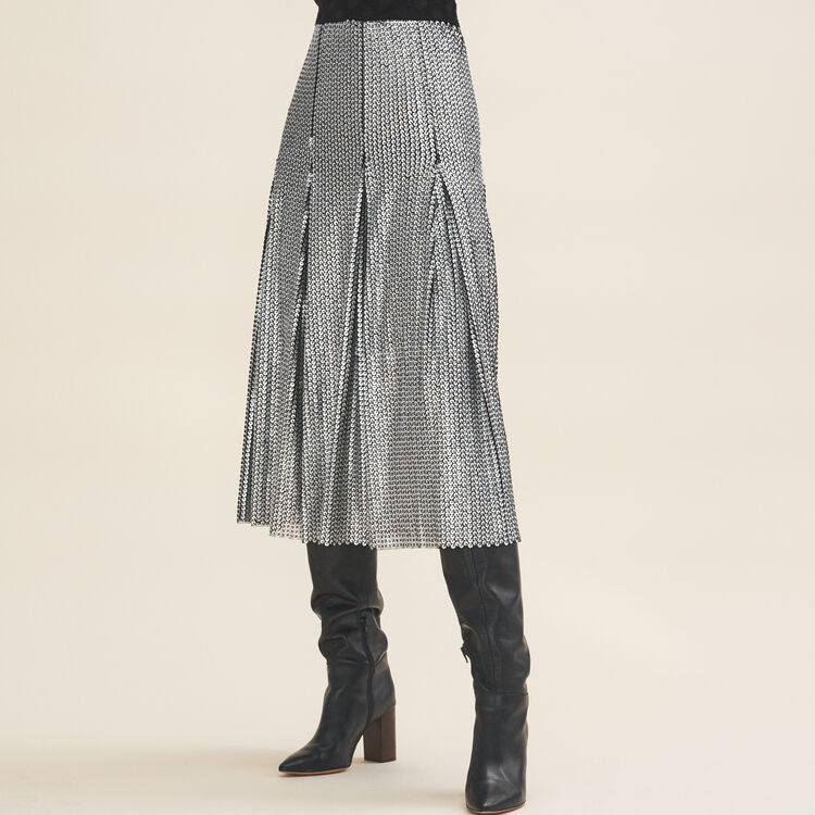 Midi sequinned skirt : Skirts & Shorts color Silver