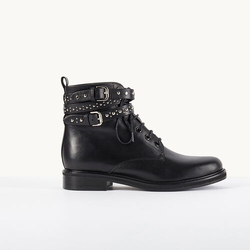 Leather ankle boots with studded straps - Shoes - MAJE
