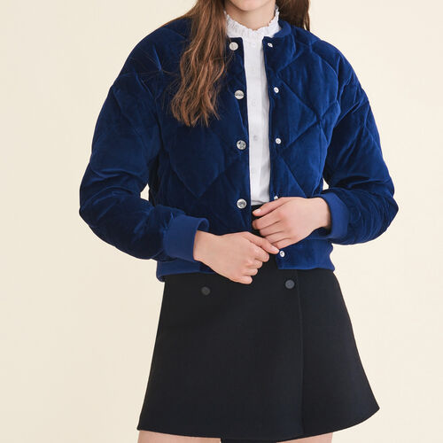 Cropped velvet bomber jacket : Jackets & Blazers color Navy