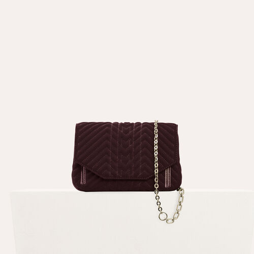 Quilted velvet evening bag : Shoulder bag color BORDEAUX