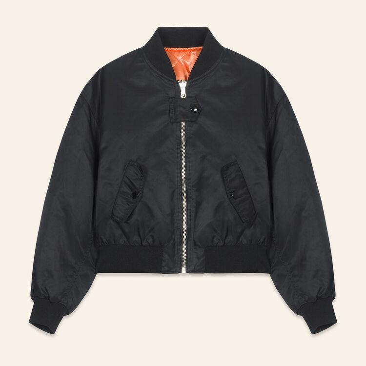 Cropped reversible bomber jacket : Jackets & Blazers color Black 210