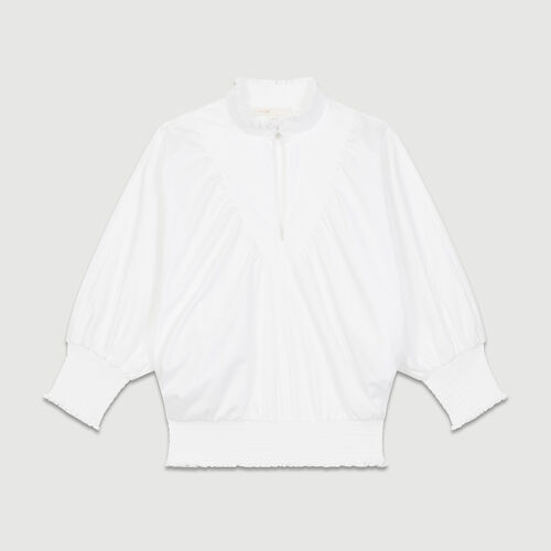 Smocked cotton poplin blouse : Tops color White