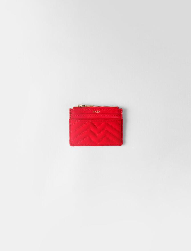 Zipped quilted velvet cardholder -  - MAJE