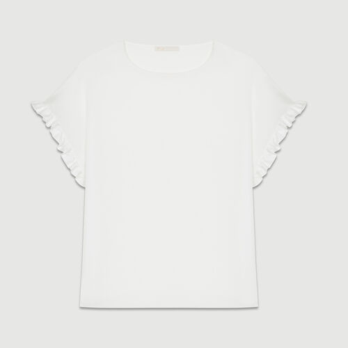 Oversized top with flounce detail : T-Shirts color White