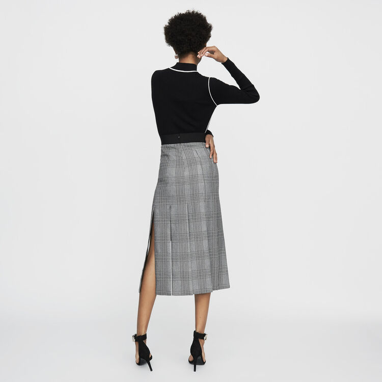 Long Prince of Wales check cutout skirt : Office girl color CARREAUX