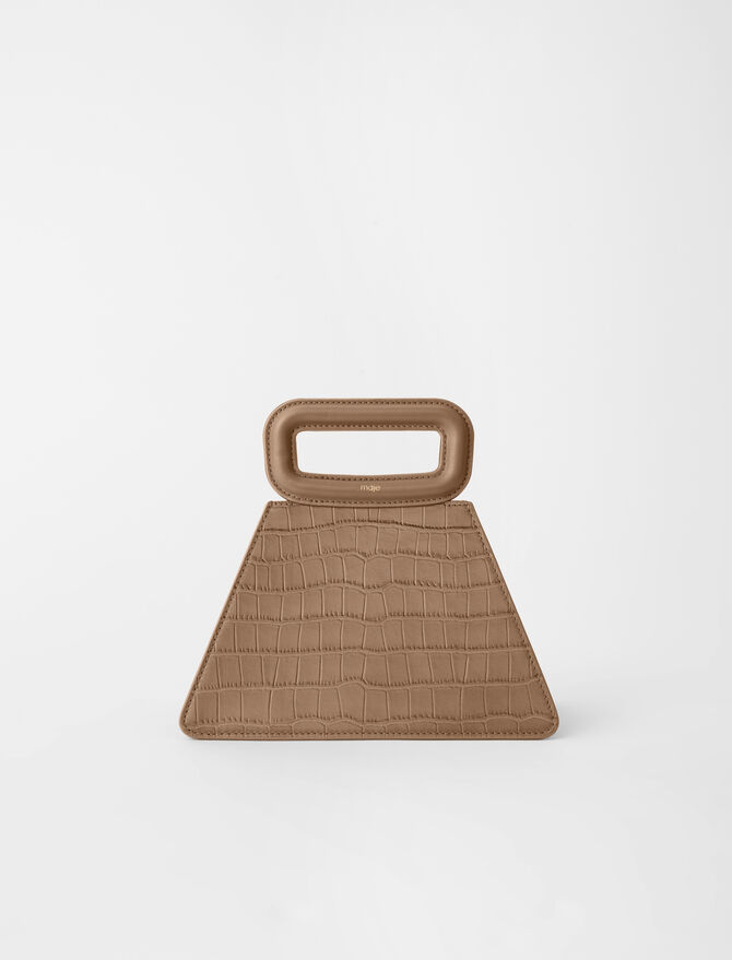 Pyramid bag with embossed leather handle -  - MAJE