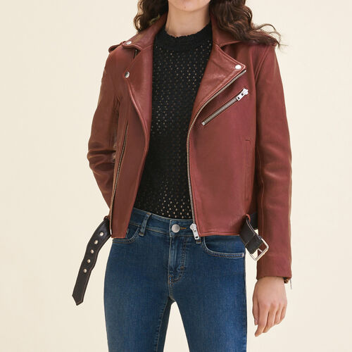 Leather jacket with contrasting belt : Blazers & Jackets color BORDEAUX