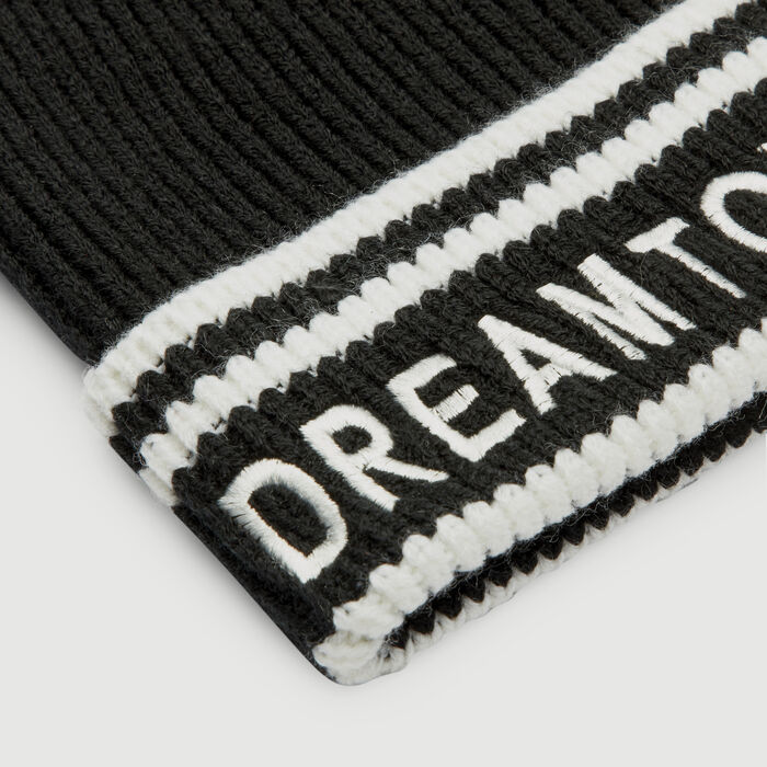 Wool-blend beanie with inscription : Shawls & Ponchos color BLACK