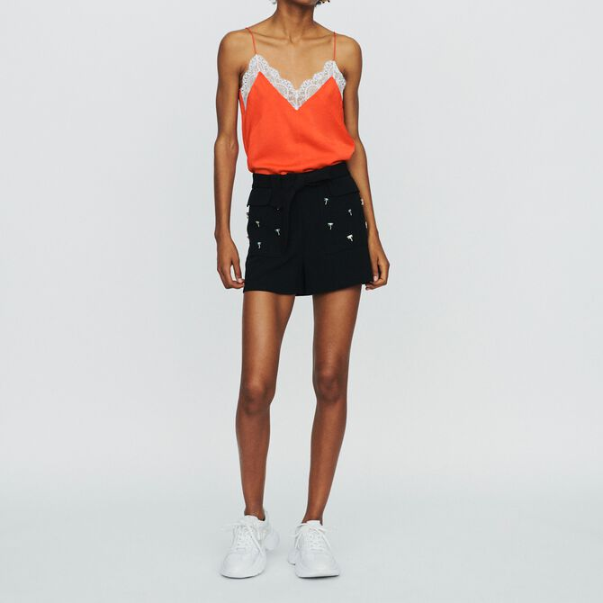 Crepe shorts with palm jewels -  - MAJE
