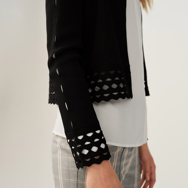 Cardigan with openwork detail : Knitwear color Black 210