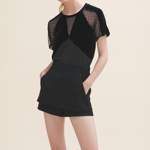 Velour and dotted Swiss T-shirt : See all color Black 210