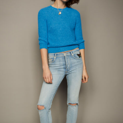 Cropped mohair sweater : Sweaters & Cardigans color Blue