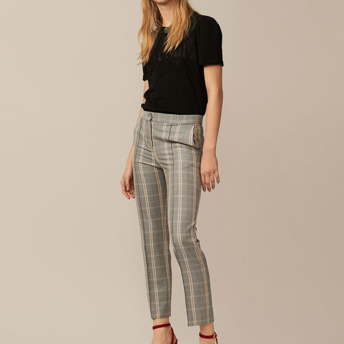 Straight checkered pants : Trousers & Jeans color CARREAUX