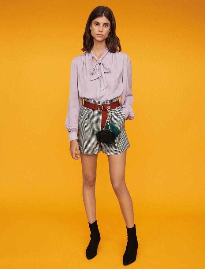 Belted houndstooth shorts - Skirts & Shorts - MAJE