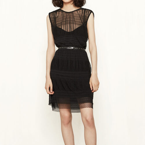 Short dress with see-through detailing : Dresses color Black 210