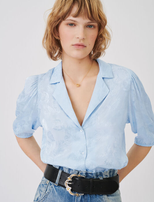 Flowing jacquard shirt : Tops & Shirts color Ecru