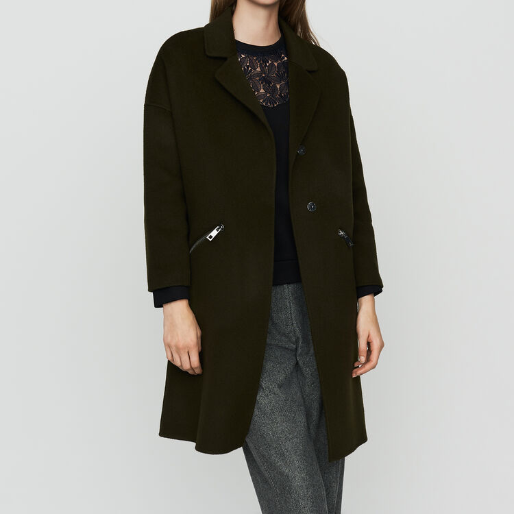 Coat in double-face wool : Coats color Khaki
