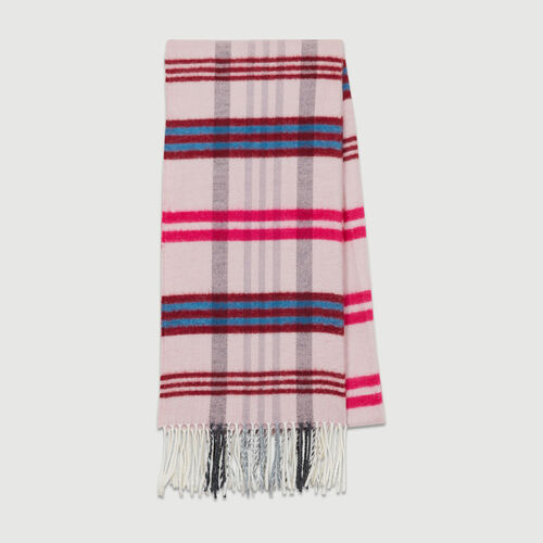 Plaid knit scarf : New collection color Burgundy