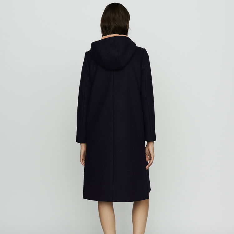 Long coat with faux-fur lined hood : Coats color Black 210