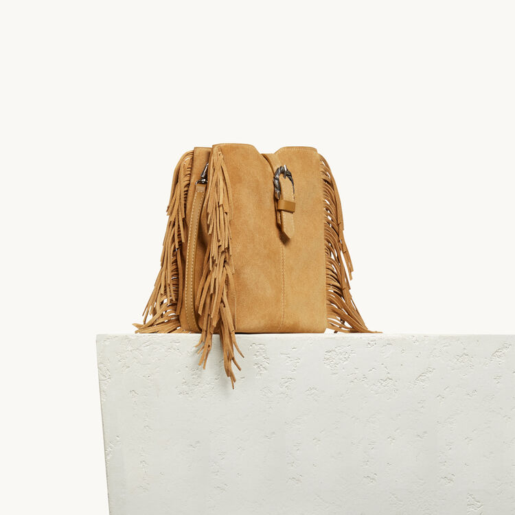 M bag in suede with scalloped buckle - LEATHER - MAJE