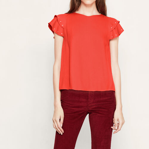 Floaty top with studded frills : Tops color RED ORANGE