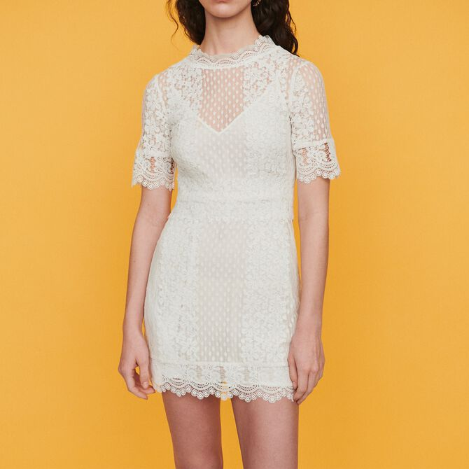 Short Swiss dot dress with daisy lace - See all - MAJE