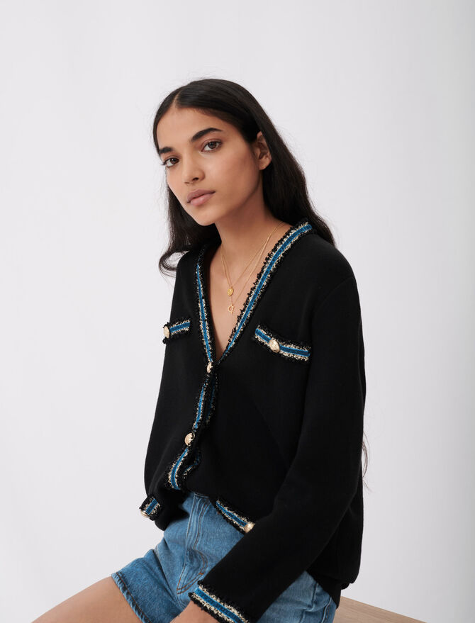 Knitted cardigan with velvet - Knitwear - MAJE