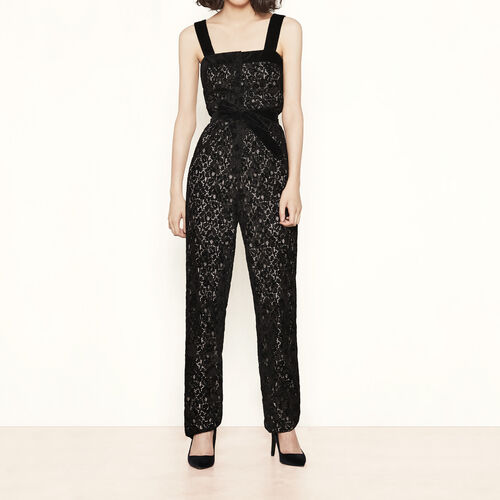 Lace jumpsuit with flocking : Trousers & Jeans color Black 210