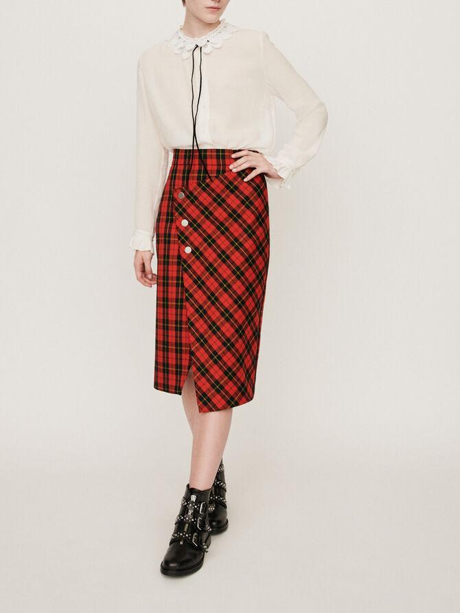 Asymmetrical plaid skirt - -40% - MAJE