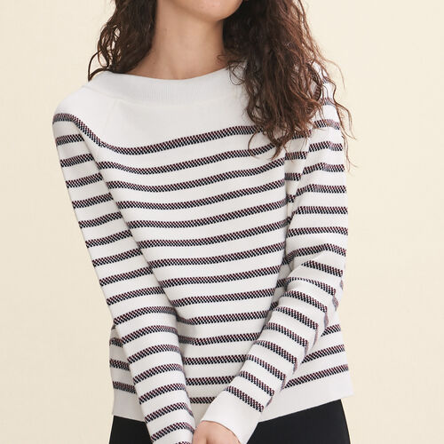 Wool blend Breton jumper : Knitwear color Ecru