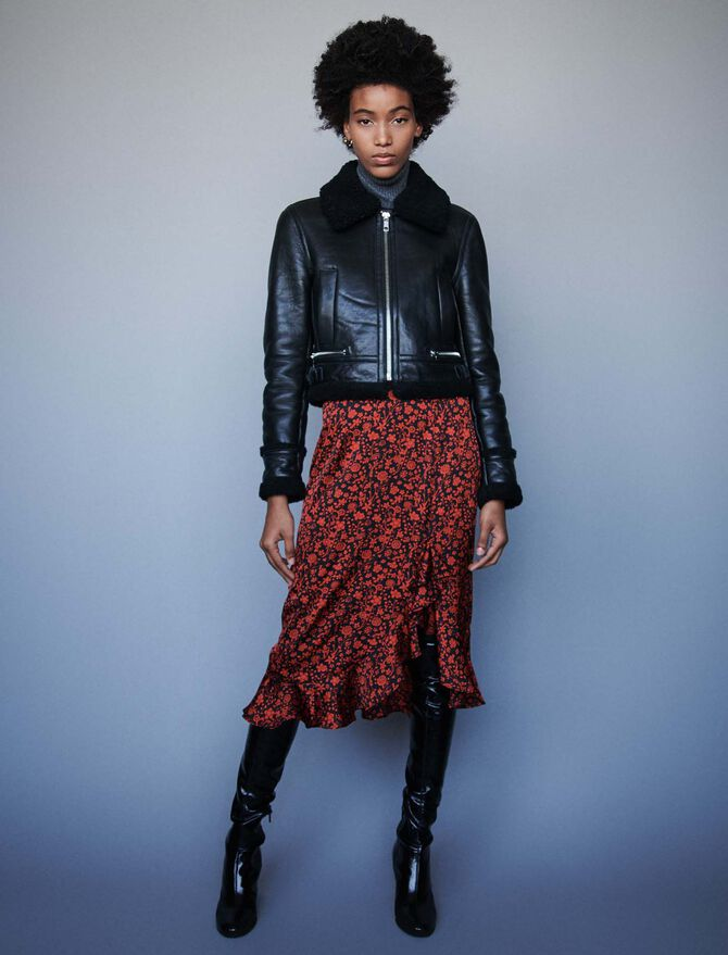 Leather jacket with shearling collar - -40% - MAJE