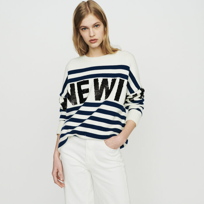 Sailor striped sweater in wool blend : New in : Summer Collection color ECRU