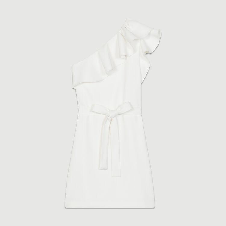 Short dress with asymmetric shoulders : Dresses color White