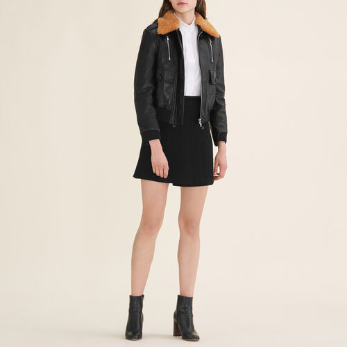 Aviator-style leather jacket : Jackets & Blazers color Black 210