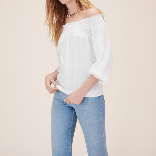 Blouse with smocking : Tops color WHITE