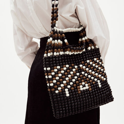 M bag in natural wood pearls : M bag color Multico