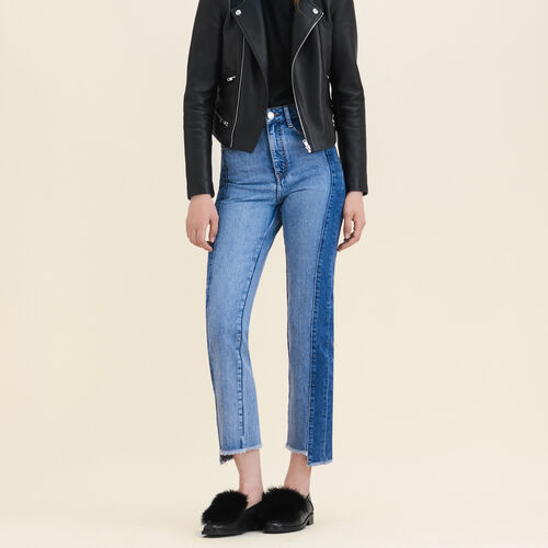 Straight-cut faded denim jeans : Jeans color Blue