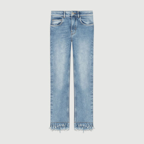 Straight cut jeans with fringed hem : Jeans color Denim