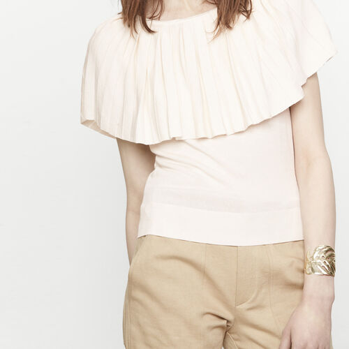 Jumper with large pleated ruff : Sweaters & Cardigans color White