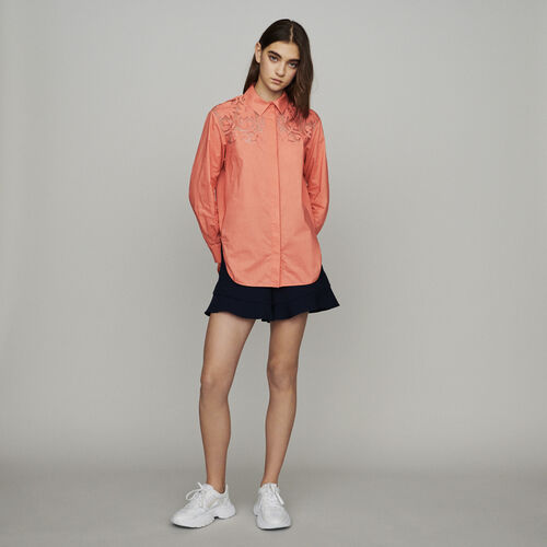 Guipure top : Tops & Shirts color Coral