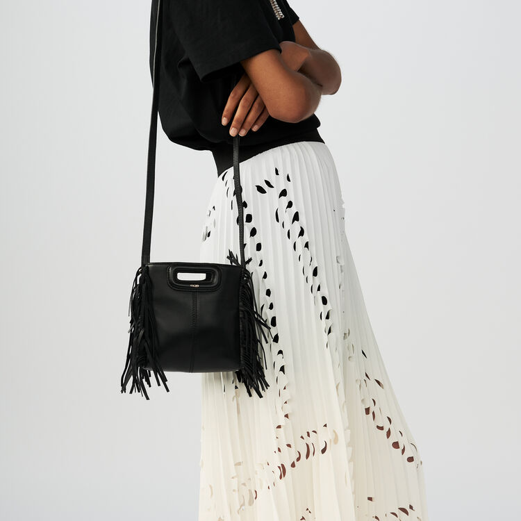 Fringed suede M minibag : M bags color Black 210