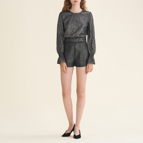 Tulle and lurex playsuit : Skirts & Shorts color Silver