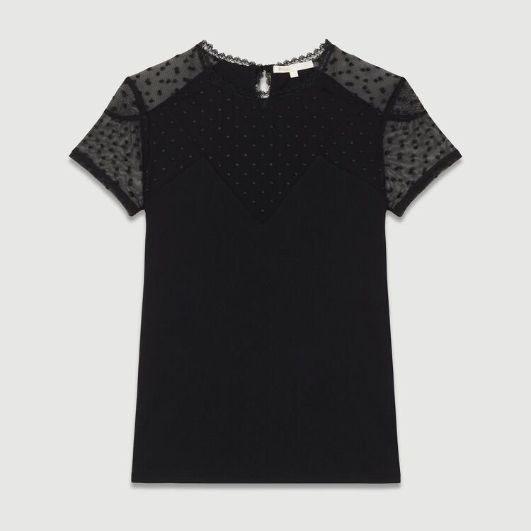 T-shirt with Swiss dot inlay : Iconic revisited color Black 210