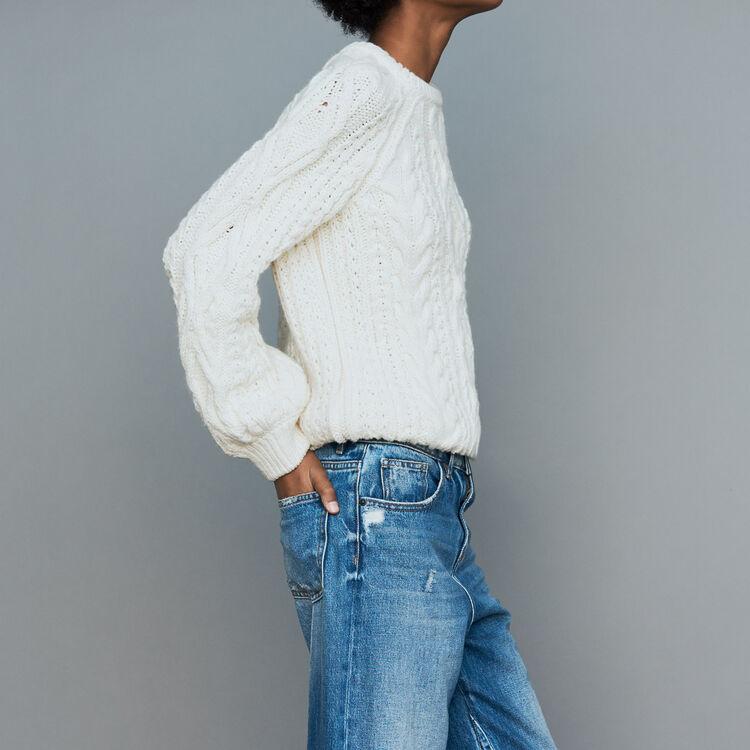 Braided knit sweater : Knitwear color ECRU