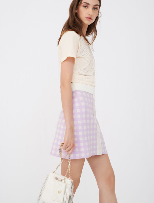 Straight skirt in checked jacquard : Skirts & Shorts color Parma Violet
