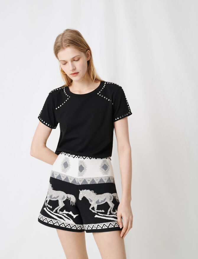 Rock 'n' roll T-shirt with studs -  - MAJE
