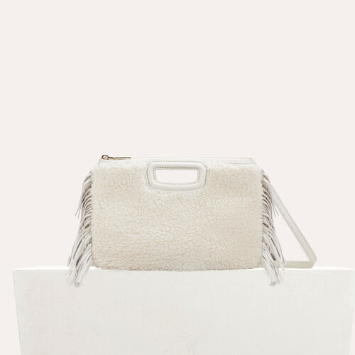 M Duo clutch in leather : Leather color White