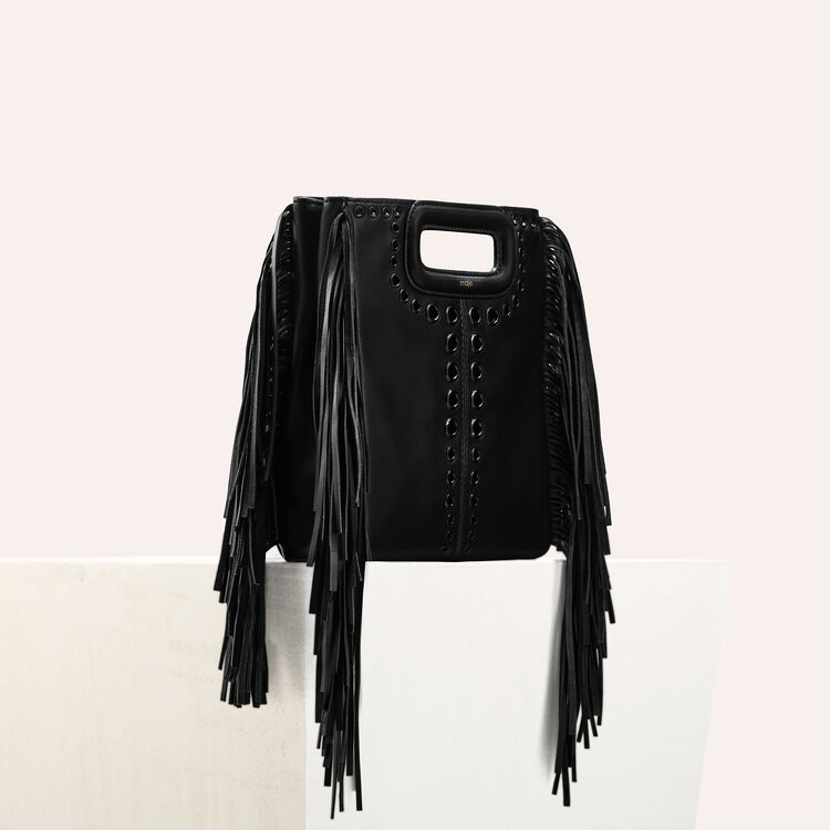 Leather M bag with eyelets and fringing : null color