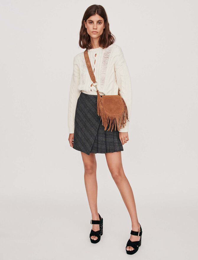 Pleated short skirt with checks - SoldesFR_ALL - MAJE