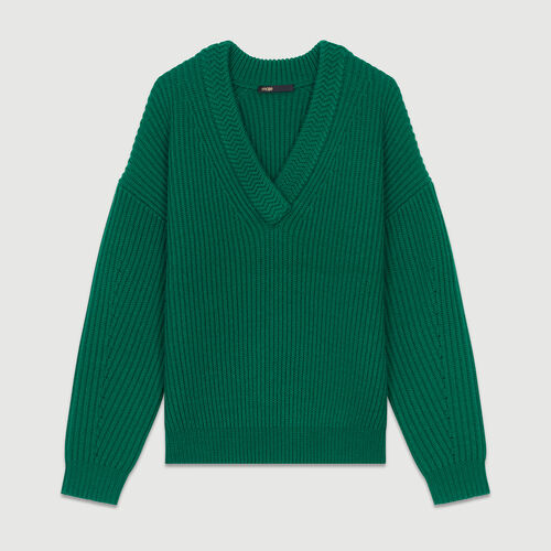 Long-sleeved, V-neck sweater : Knitwear color Green